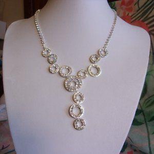 Rhinestone Silver Tone Circles Necklace